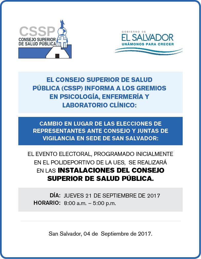 CSSP Elecciones Cambio de sede SS