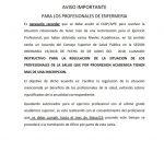 Imagen - AVISO IMPORTANTE PARA LOS PROFESIONALES DE ENFERMERIA