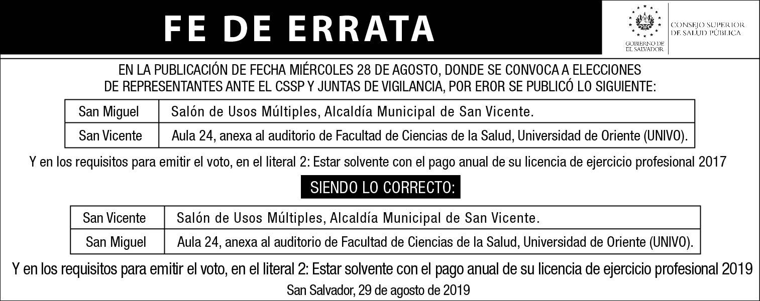 FE DE ERRATA EL DIARIO DE HOY 29 AGOSTO